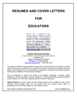 RESUMES AND COVER LETTERS FOR EDUCATORS Career Services Center
