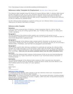Reference Letter Template for Employment From: