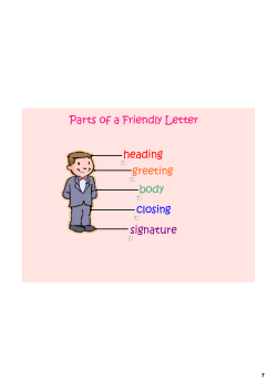 Parts of a Friendly Letter heading greeting body
