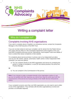 Writing a complaint letter Who do I complain to?