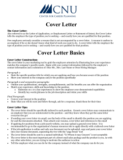 The Cover Letter: