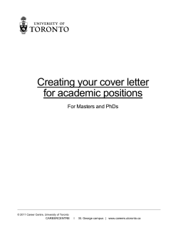 Creating your cover letter for academic positions For Masters and PhDs
