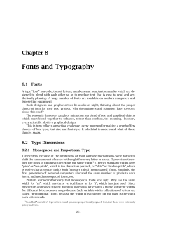Fonts and Typography Chapter 8 8.1 Fonts