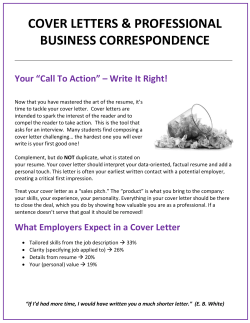 COVER LETTERS & PROFESSIONAL BUSINESS CORRESPONDENCE