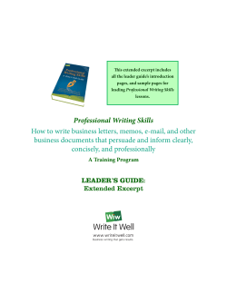 This extended excerpt includes all the leader guide's introduction Professional Writing Skills