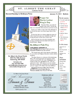 S t .   A l b e r... Catholic Parish Second Sunday in Ordinary Time Parish events: