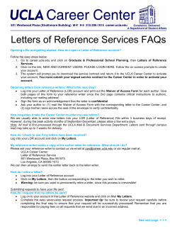 Letters of Reference Services FAQs