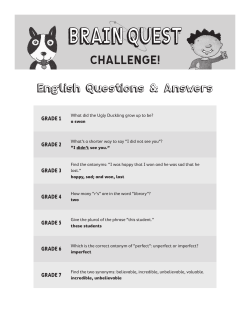 English Questions & Answers GRADE 1 GRADE 2