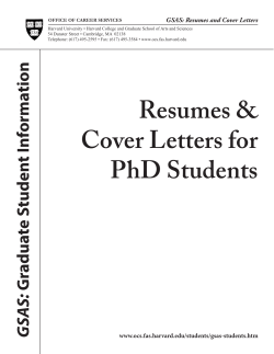 GSAS: Resumes and Cover Letters