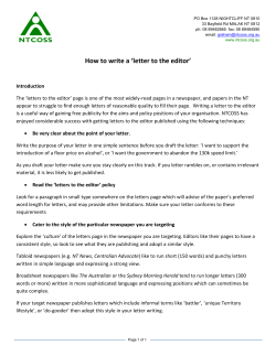 How to write a 'letter to the editor'