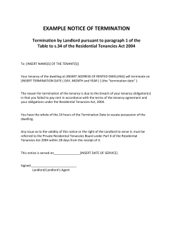 EXAMPLE NOTICE OF TERMINATION