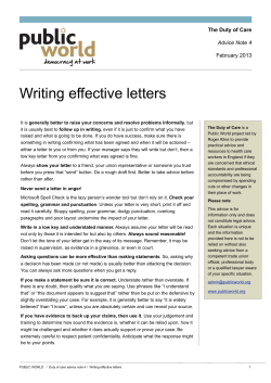 Writing effective letters The Duty of Care Advice Note 4 February 2013