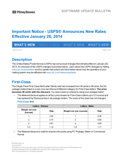 Important Notice - USPS® Announces New Rates Effective January 26, 2014 Description