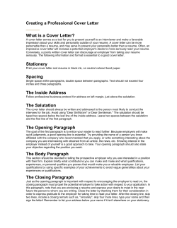 What is a Cover Letter? Creating a Professional Cover Letter