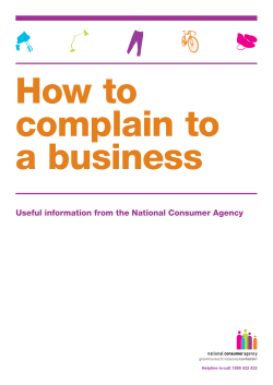 How to complain to a business Useful information from the National Consumer Agency