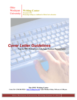 Cover Letter Guidelines  Writing Center Ohio