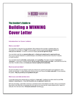 Building a WINNING Cover Letter The Insider's Guide to