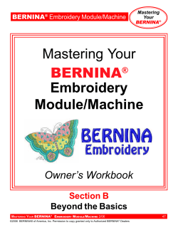 Mastering Your Embroidery Module/Machine BERNINA