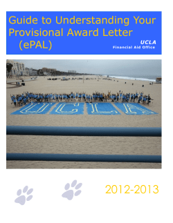 2012-2013 Guide to Understanding Your Provisional Award Letter (ePAL)