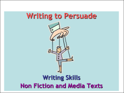 Writing to Persuade  Non Fiction and Media Texts Writing Skills