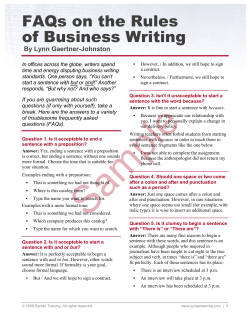 FAQs on the Rules of Business Writing By Lynn Gaertner-Johnston