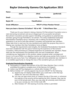 Baylor University Gamma Chi Application 2015