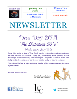 "NEWSLETTER Doe Day 2014  ""The Fabulous 50's"""
