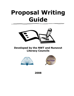 Proposal Writing Guide  Developed by the NWT and Nunavut