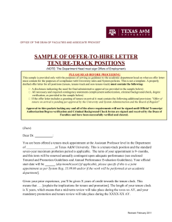 SAMPLE OF OFFER-TO-HIRE LETTER TENURE-TRACK POSITIONS
