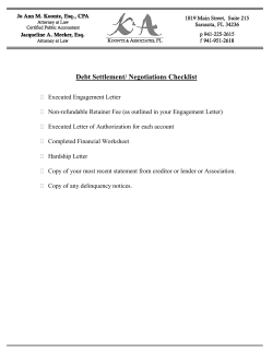 Debt Settlement/ Negotiations Checklist