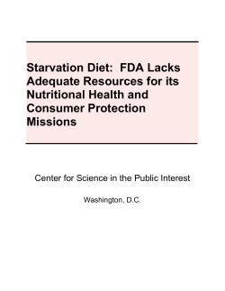 Starvation Diet:  FDA Lacks Adequate Resources for its Nutritional Health and