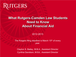 What Rutgers-Camden Law Students Need to Know About Financial Aid