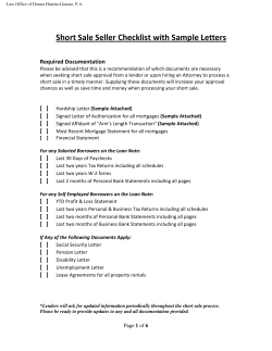 Short Sale Seller Checklist with Sample Letters  Required Documentation