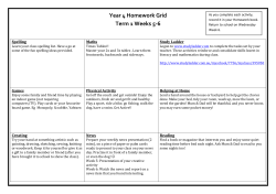 Year 4 Homework Grid Term 1 Weeks 5-6 Spelling Maths