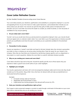 Cover Letter Refresher Course