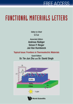 FUNCTIONAL MATERIALS LETTERS FREE ACCESS Li Lu Andreas Rüdiger