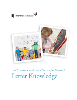 Letter Knowledge  The Creative Curriculum® System for Preschool