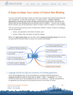 8 Steps to Keep Your Letter of Intent Non-Binding