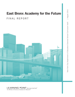 East Bronx Academy for the Future August 2011 |