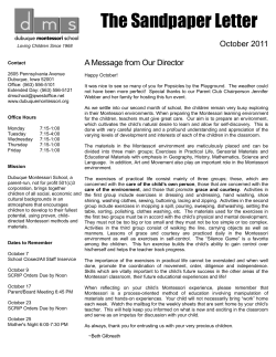 The Sandpaper Letter October 2011 A Message from Our Director