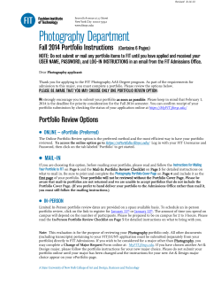 Photography Department Fall 2014 Portfolio Instructions