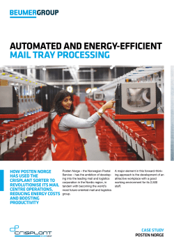 AUTOMATED AND ENERGY-EFFICIENT MAIL TRAY PROCESSING HOW POSTEN NORGE HAS USED THE