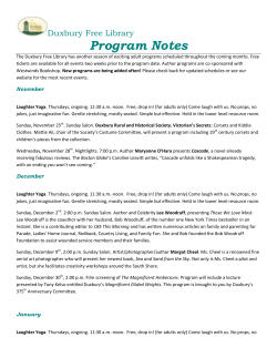 Program Notes Duxbury Free Library