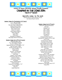 Camping in the Zone 2014  Specialty camps, by the week