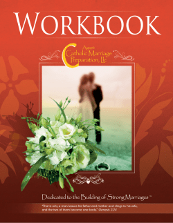 Workbook Catholic Marriage Preparation, Llc Dedicated to the Building of Strong Marriages ™