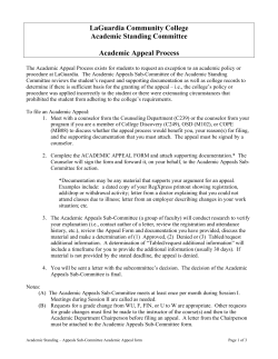 LaGuardia Community College Academic Standing Committee  Academic Appeal Process