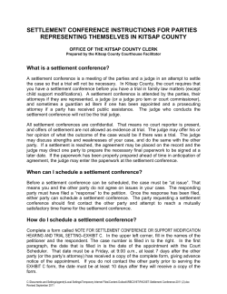 SETTLEMENT CONFERENCE INSTRUCTIONS FOR PARTIES REPRESENTING THEMSELVES IN KITSAP COUNTY