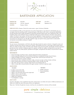 BARTENDER APPLICATION
