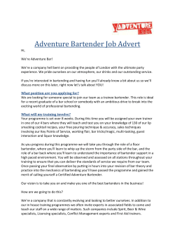 Adventure Bartender Job Advert