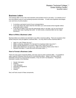 Western Technical College Online Writing Center Business Letters
